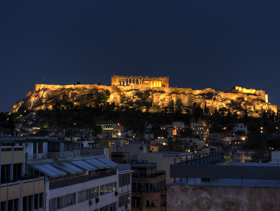 The Acropolis at Night Athens  Greece