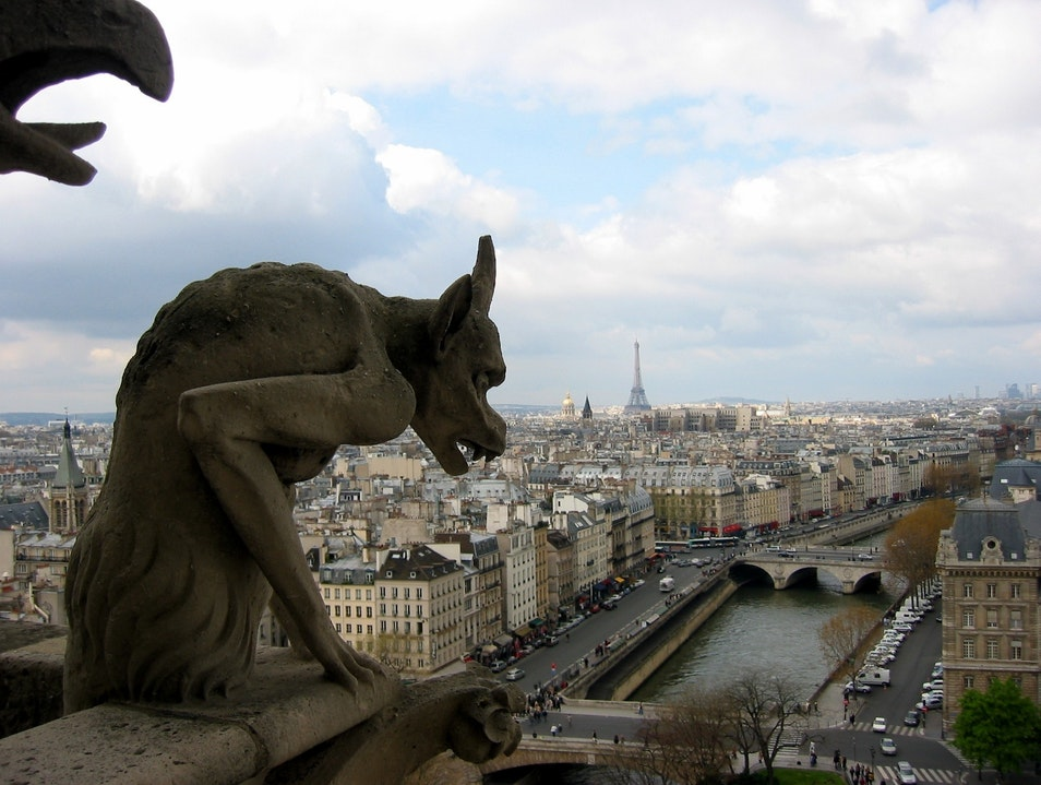 Gargoyles on Notre-Dame with the Eiffel Tower in the background.   France