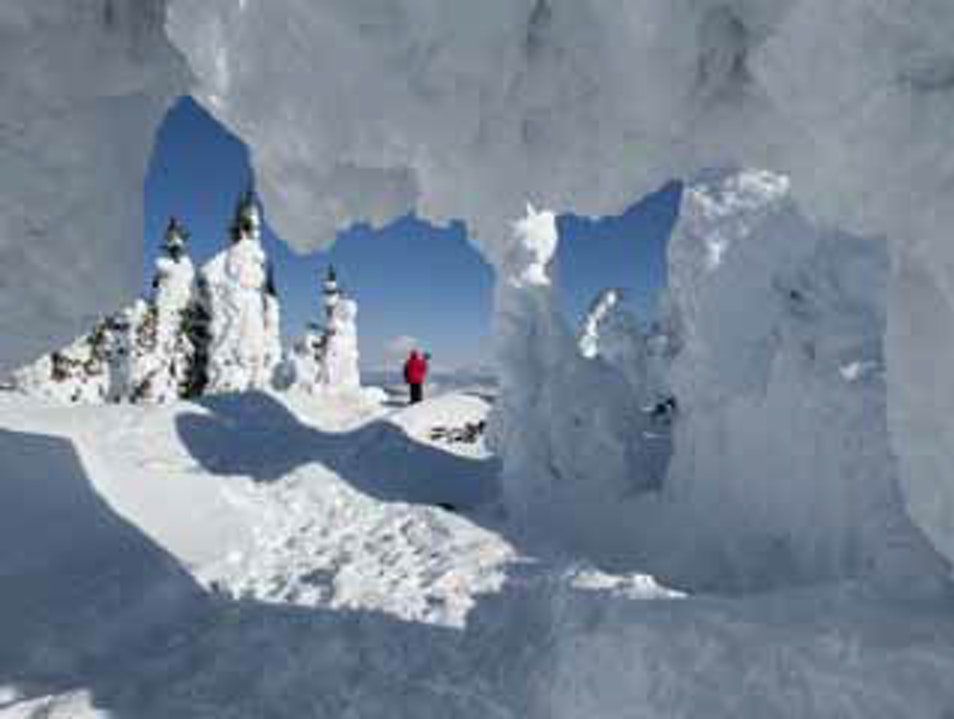 Standing under the snow ghosts on Two Top Mountain West Yellowstone Montana United States