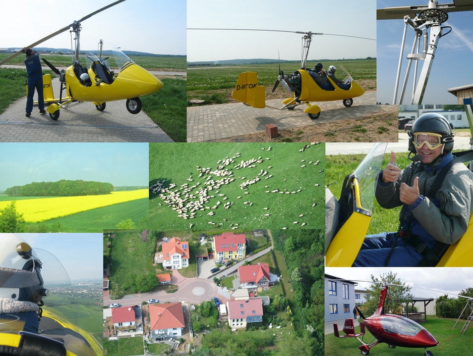 Gyrocopter flying over Germany Hildesheim  Germany