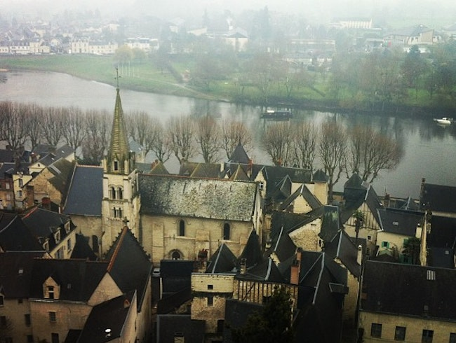 Taking in the views of Chinon