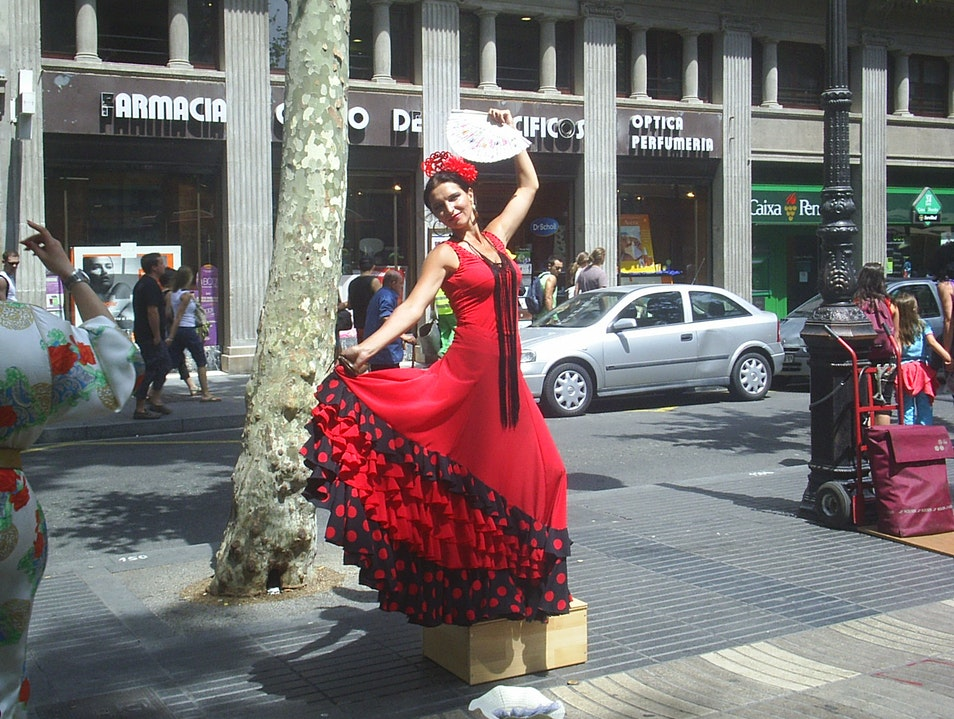 Snap shots of living statues on Las Ramblas Barcelona  Spain