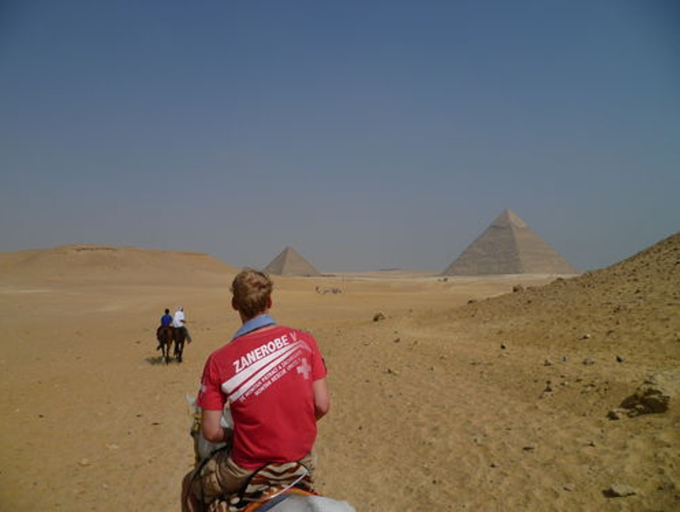Horseback riding around the Giza Pyramids Cairo  Egypt