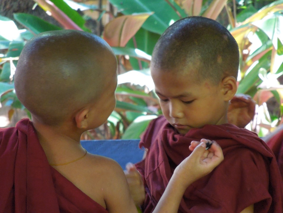Young Monks study more than Buddhism Rangoon  Myanmar