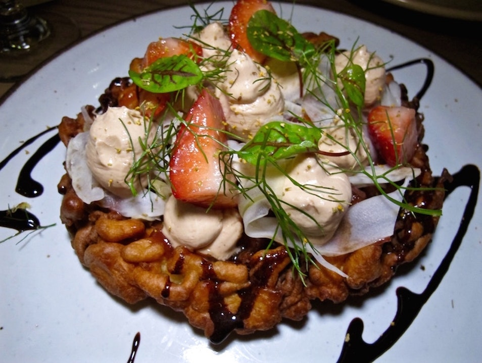 Foie Gras Funnel Cake at Otium LA Los Angeles California United States