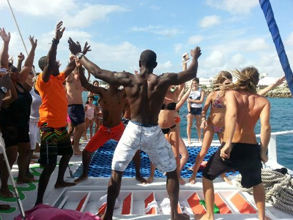 Wining on Jammin' Catamaran Holetown  Barbados