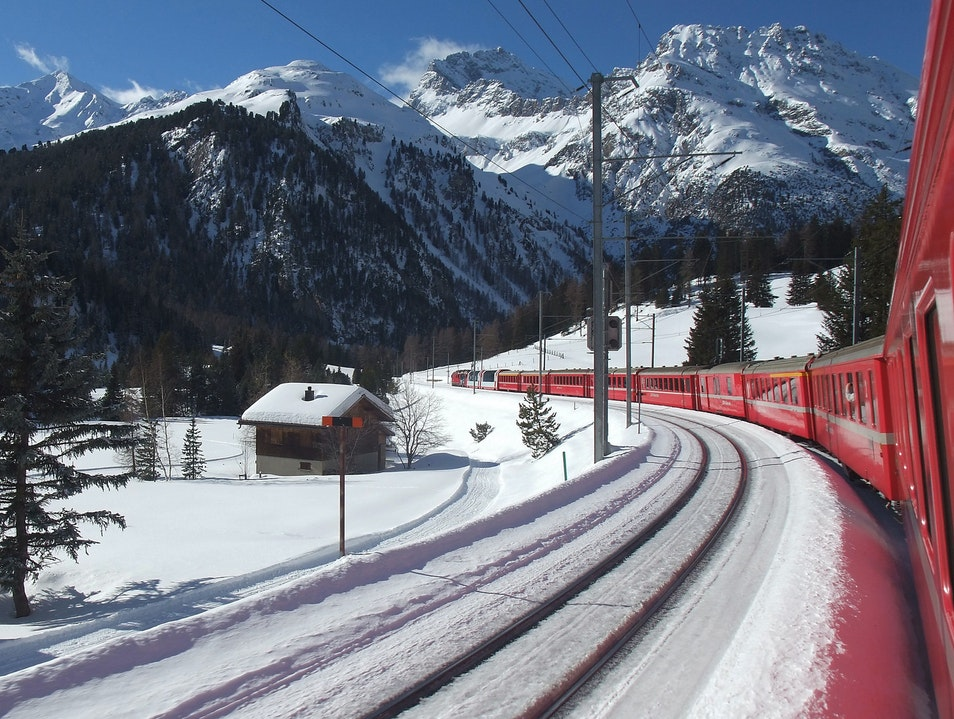 Switzerland's Rhaetian Railway Saint Moritz  Switzerland