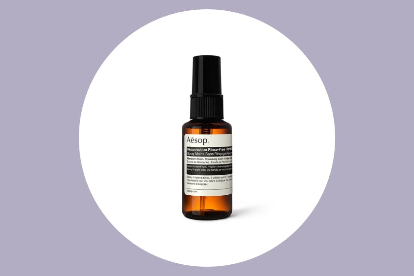 The Aesop hand sanitizer contains aloe vera, to keep from drying out your hands.