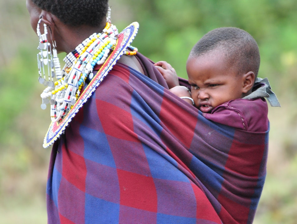 Maasai mother with her child Serengeti  Tanzania