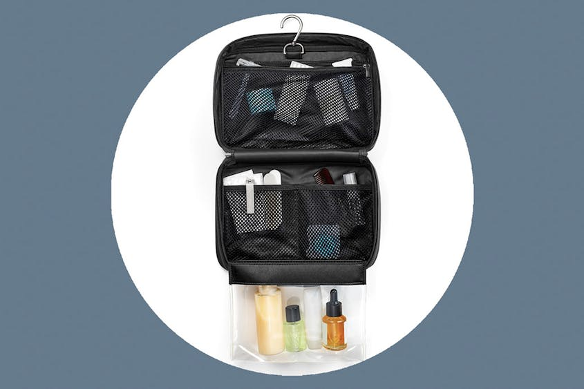 The Hanging Toiletry Bag is available in Black, Coast, and Green.
