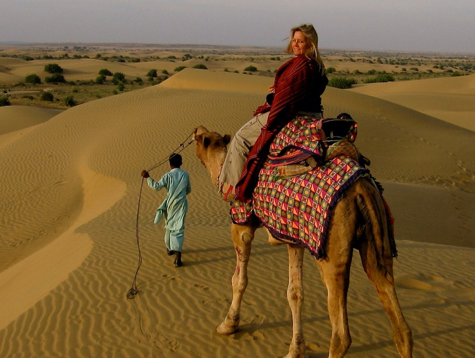 Camel safari in the Thar desert Jaisalmer  India