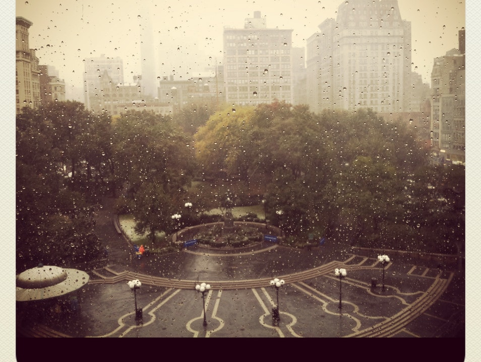 Rain Falls on Union Square New York New York United States