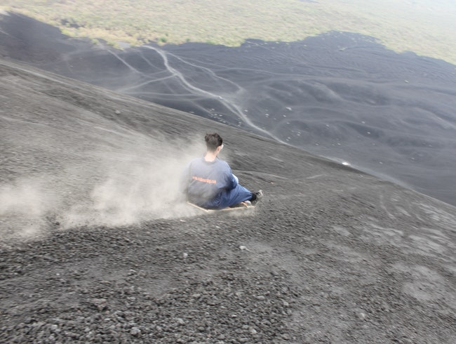 Boarding down an active volcano