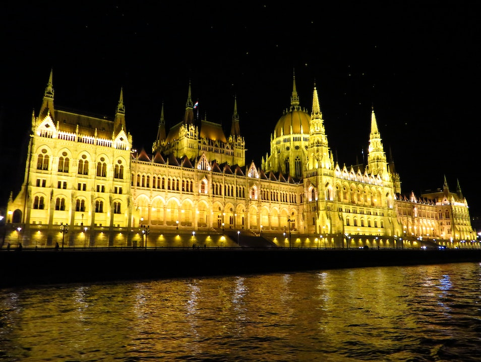 Hungarian Parliament at night Budapest  Hungary