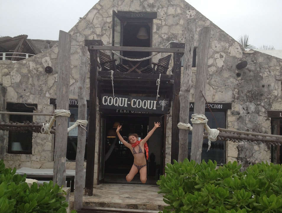 Jumping for joy in Tulum Quintana Roo  Mexico