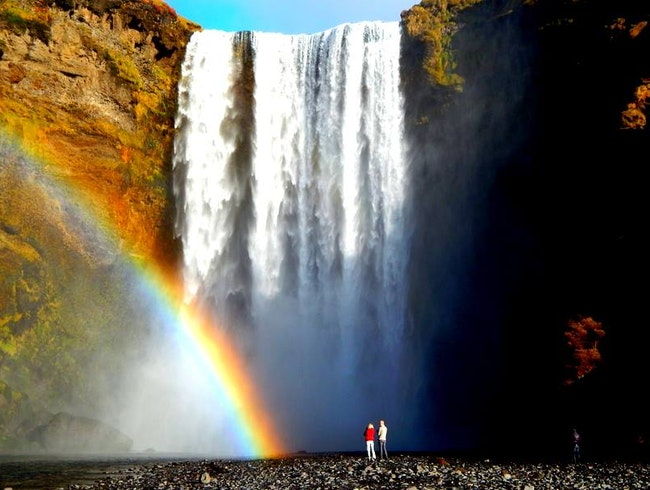 The beautiful Skogafoss waterfall