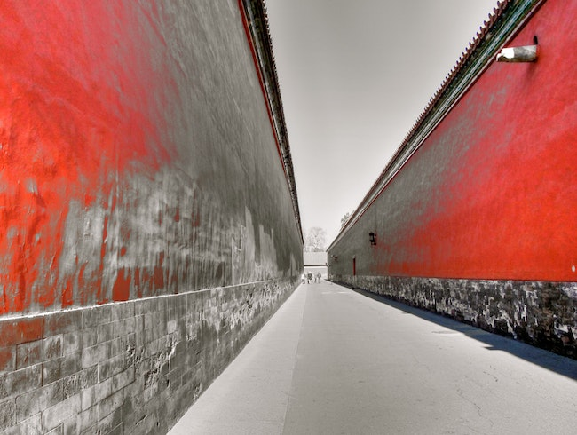 The walkway between the walls inside the Forbidden City