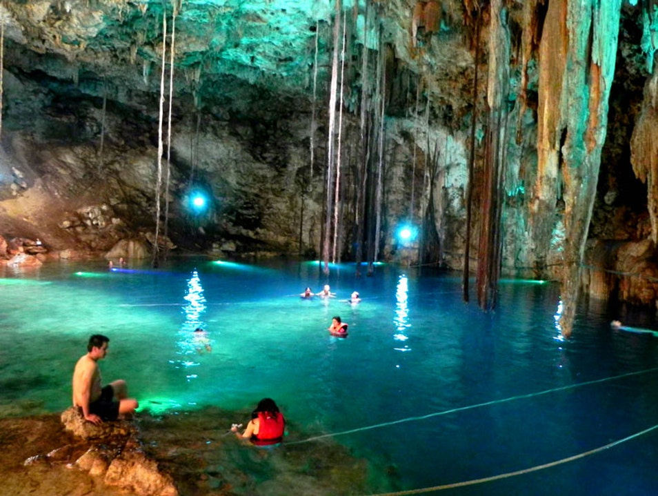 Underground natural pool Cenote  Mexico