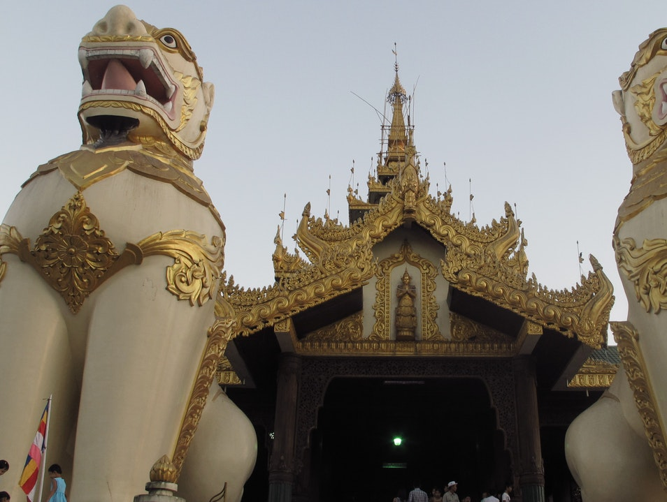 One of the entrances to the Schwedegon Pagoda in Yangon, Myanmar