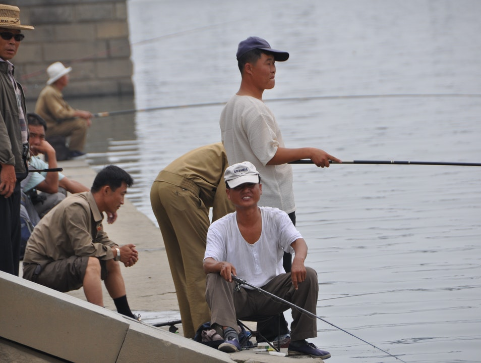 Fishing on the Taedong River in Pyongyang Pyongyang  North Korea