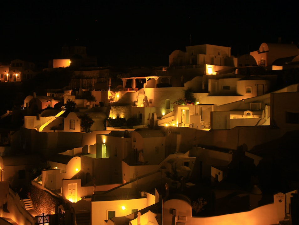 Dark early in Santorini Oia  Greece