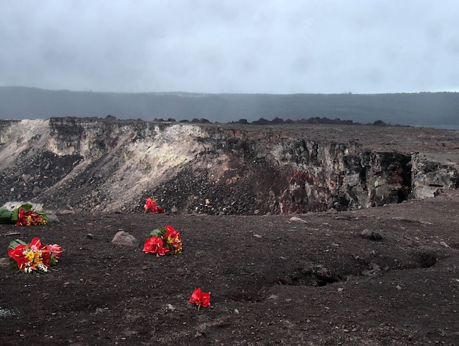An Offering of Flowers to a Volcano