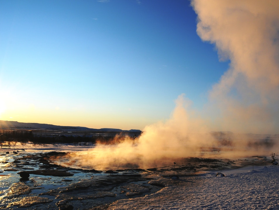 Steamy Geyser in Geysir South  Iceland