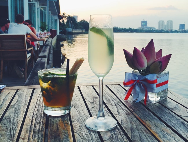 Sunset Drinks on the Mekong River
