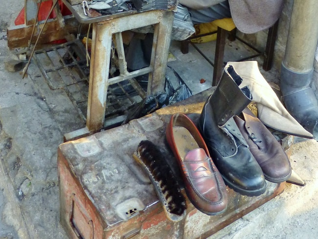 Cobbler shop in Amman.