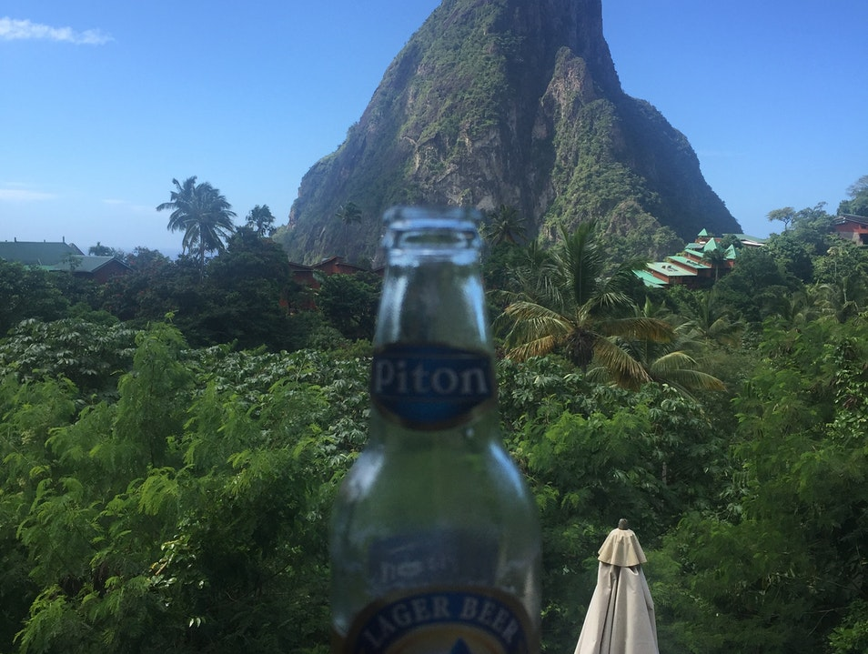 Drinking a Piton at a Piton Jalousle  Saint Lucia