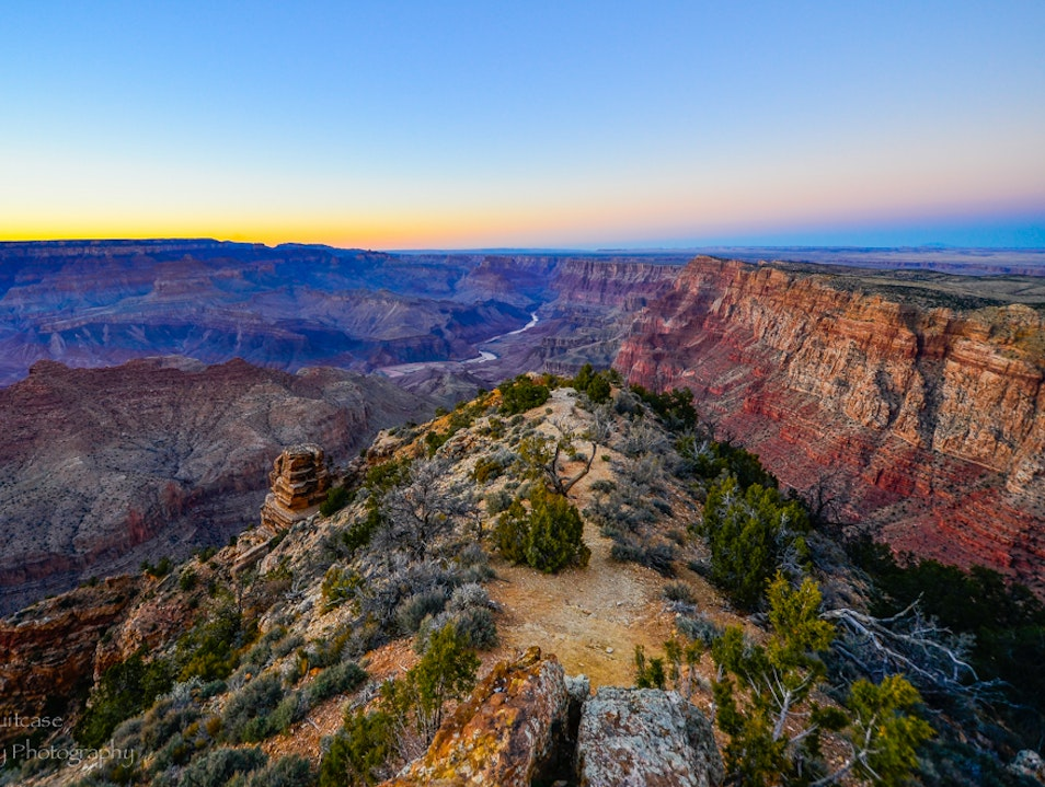 Desert View Watchtower sunset  North Rim Arizona United States