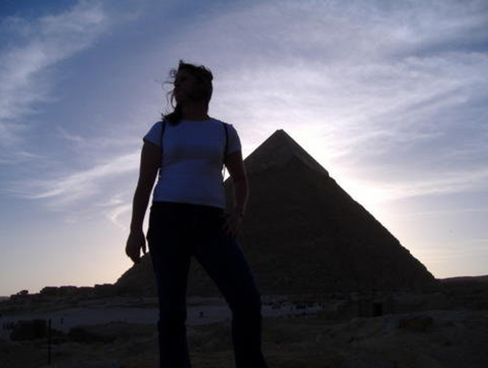 Sunset pyramids Cairo  Egypt