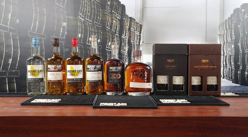 A range of rums at the Mount Gay visitors center