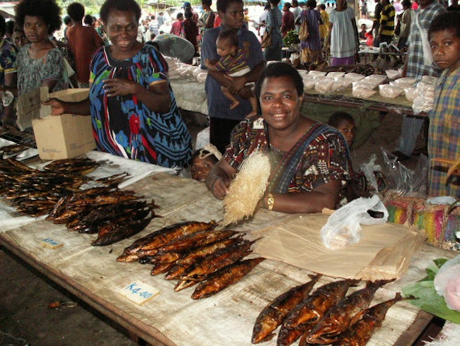 Dried fish at the Lae Market