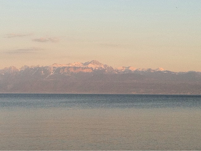 The Mt Blanc and Lake Geneva