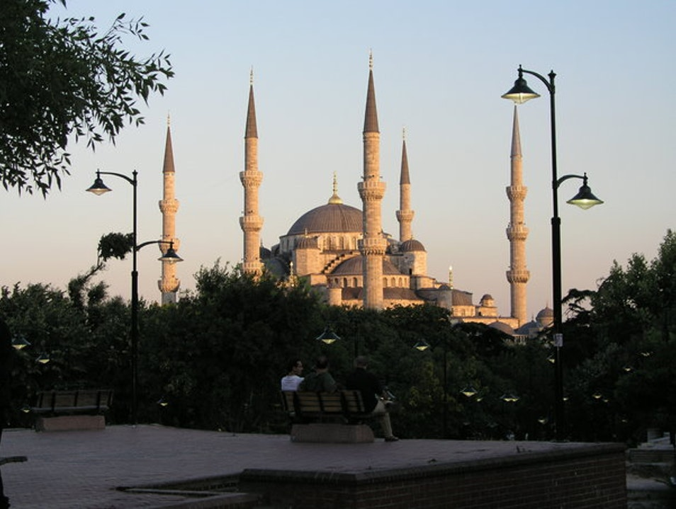 The Blue Mosque at Sunset Istanbul  Turkey