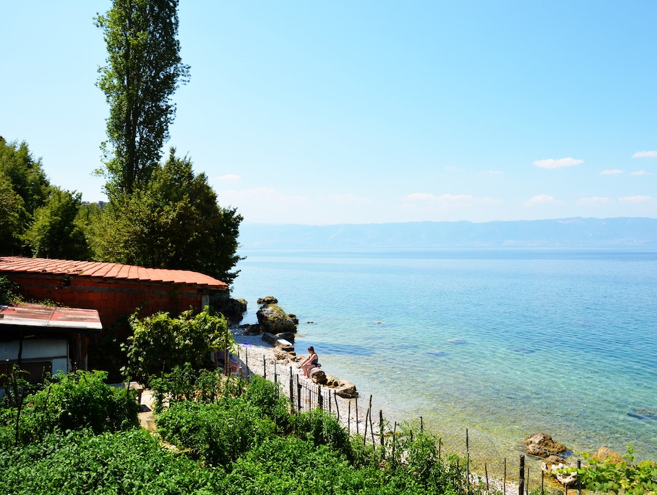 Enjoying the crystal clear waters of the Ohrid lake Trpejca  Macedonia (FYROM)