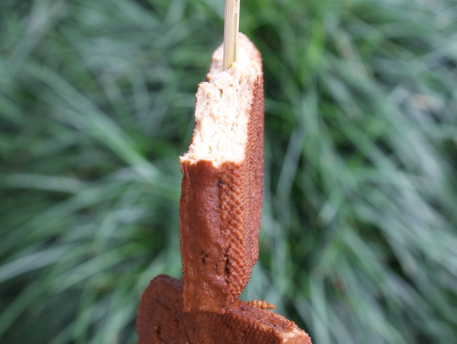 Tofu on a stick food on the go. Do it its good for you!
