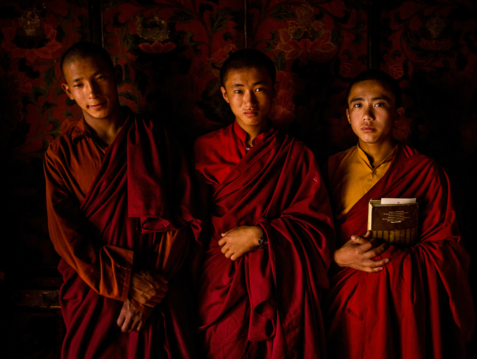 Monks at a temple in Bhutan
