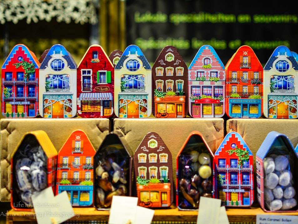 Chocolate galore at the Christmas market  Bruges  Belgium