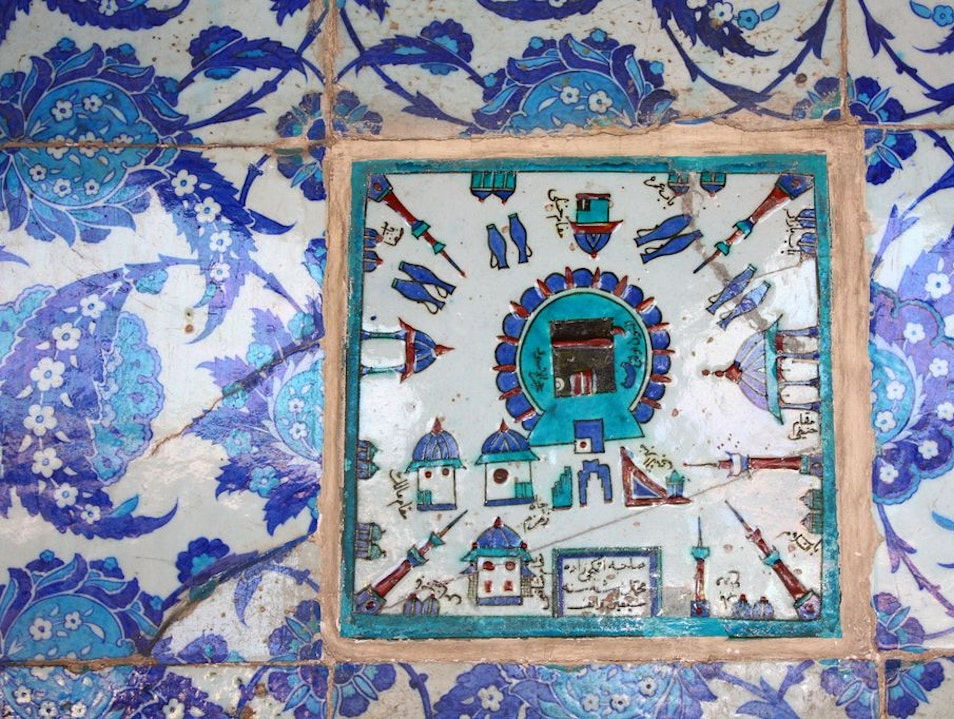 beautiful hand made iznik tiles of Rustempasha mosque Istanbul  Turkey