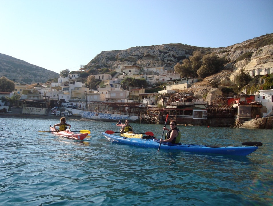 Kayaking in the Med Matala  Greece