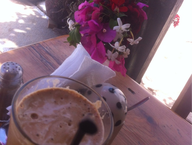 coffee frappe in the garden