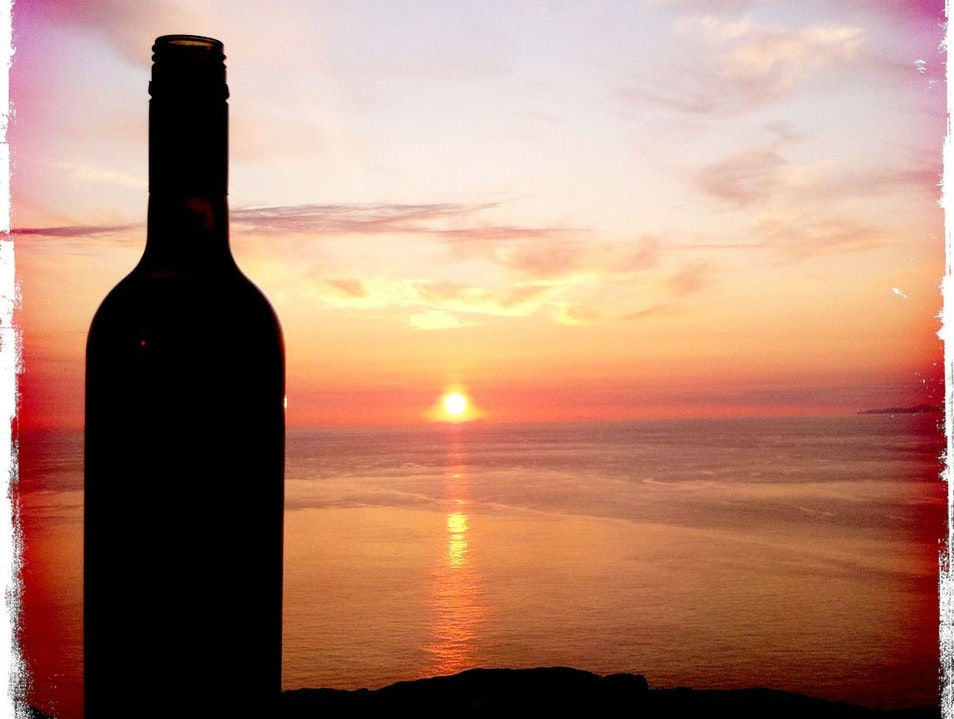 Red wine and a red sunrise Naxos  Greece