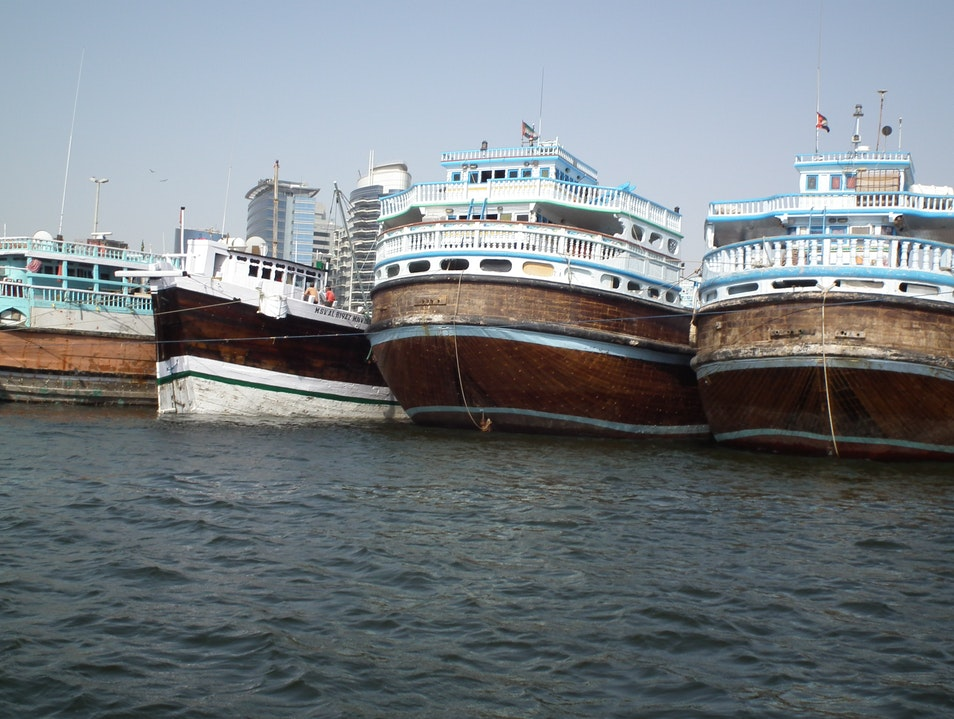 Merchant ships at dock in Dubai Dubai  United Arab Emirates