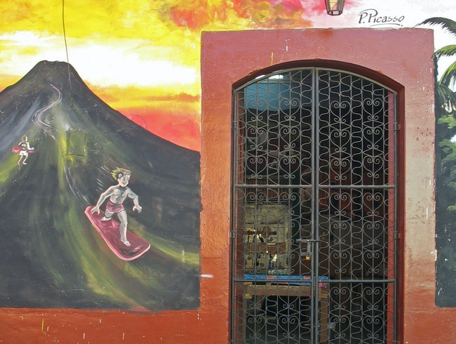 """Picasso"" depicts volcano-surfing"