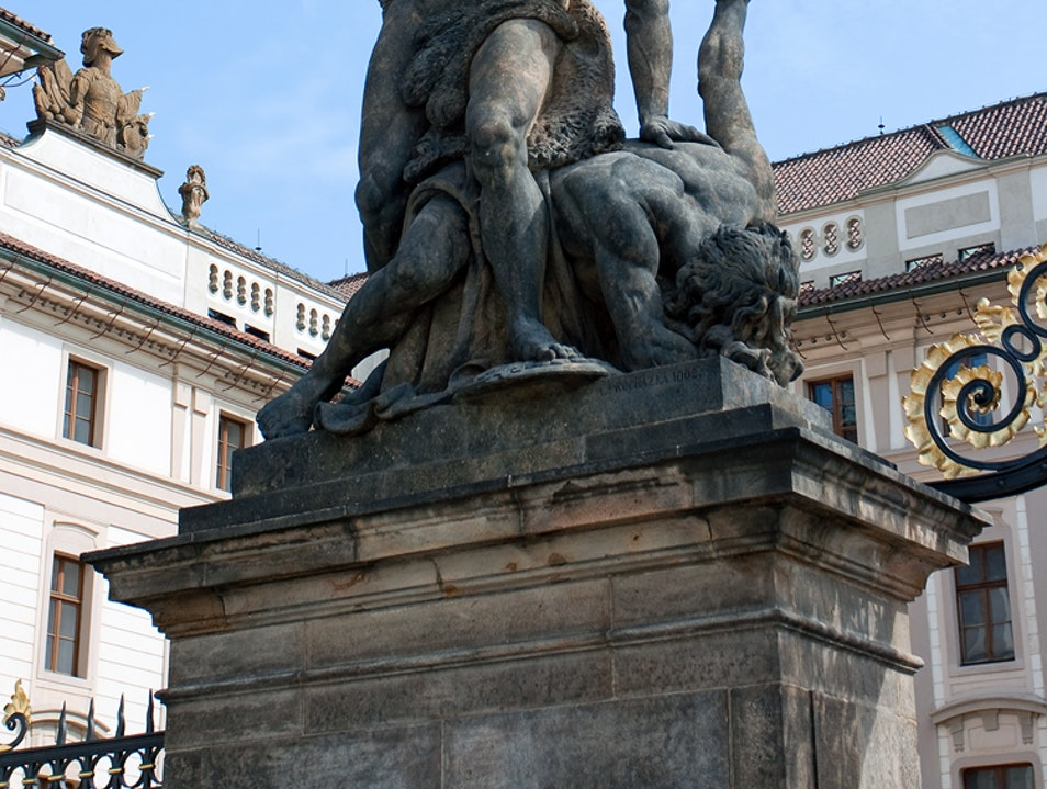 Statue on the gate of Prague Castle Prague  Czech Republic