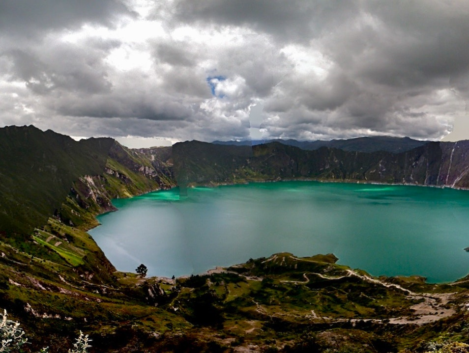 Climbing into the Quilotoa Crater