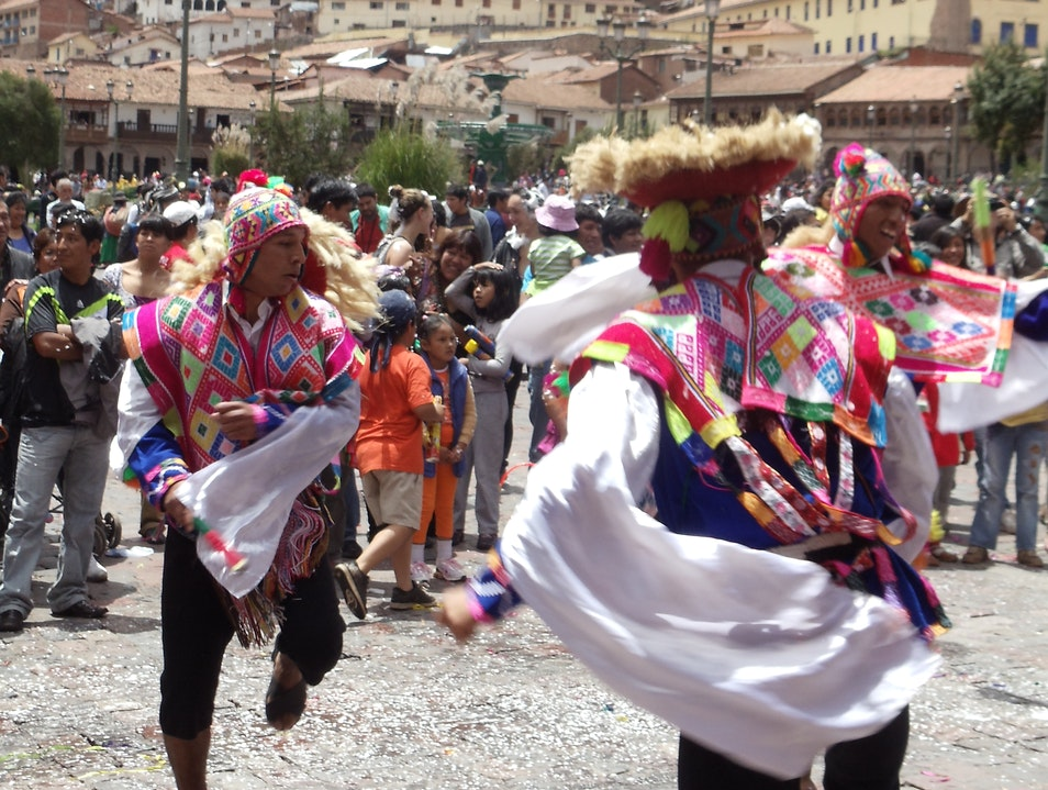 Arrival in Cusco - walking into an Andean Folk Festival Cusco  Peru