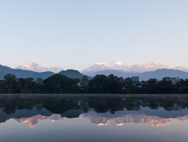Himalayan Sunrise, Phewa Lake, Pokhara, Kaski District, Nepal.